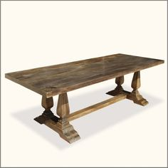 Furniture, Long Custom DIY Farmhouse Distressed Dining Table With Double Pedestal Made From Reclaimed Wood For Rustic Dining Room Furniture Ideas ~ DIY Farmhouse Table