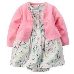 Baby Girl Carter's Bodysuit Dress & Cardigan Set