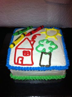 PreSchool Graduation Cake - Butter Cream and white modeling chocolate crayons.