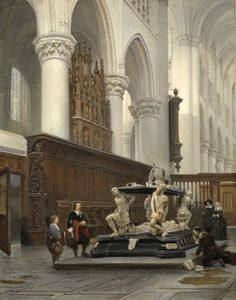 1843 | The Choir of the O.L.-Vrouwekerk in Breda with the Tomb of Engelbert II of Nassau by Johannes Bosboom (b. February 18, 1817; The Hague, Netherlands – d. September 14, 1891; The Hague, Netherlands) Oil on panel, h 87 × w 69 cm. Rijksmuseum Amsterdam (Netherlands) Image download: https://www.rijksmuseum.nl/en/collection/SK-A-1011 https://en.wikipedia.org/wiki/Johannes_Bosboom