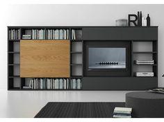Sectional lacquered TV wall system Pari&Dispari - COMP 313 - Presotto Industrie Mobili