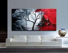 3 piezas moderno ABSTRACTO ENORME CUADRO DE PARED pintura al óleo sobre lienzo sin marco in Arte, Directo del artista, Pinturas | eBay