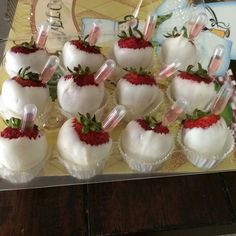 White chocolate dipped strawberries filled with moscato. Perfect for a bridal shower