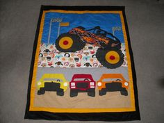 Modern Monster Truck Quilt Tutorial | Easy Baby Quilts | Pinterest ... : monster truck quilt - Adamdwight.com