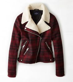 Red AEO Plaid Moto Jacket