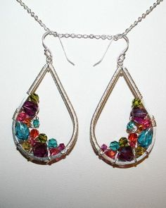 pretty wire wrapped and beaded ear rings