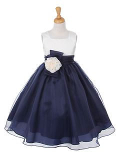 Brent and Amanda's wedding - with a light pink bolero? Navy Organza Dress with Pin-on Flower and Bow