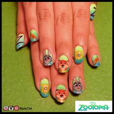 Zootopia nails that I hand-painted on my friend's nails (somewhat inspired by NailedItNZ).  Follow me on Instagram for more nail art @rtista724.