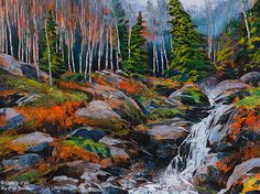 "David Langevin - "" My Feet Are Wet "" Watercolor Landscape, Abstract Landscape, Landscape Paintings, Canadian Painters, Canadian Artists, Waterfall Paintings, Art Gallery, Palette Knife Painting, Galerie D'art"
