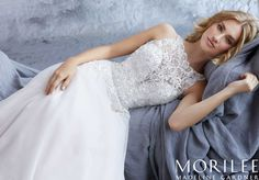 Morilee | Madeline Gardner, Katie Style 8213 | A Crystal Beaded Embroidered High Neck Bodice Perfectly Compliments the Soft English Net Skirt of the A-Line Bridal Gown. Removable Beaded Net Belt Included, and Also Sold Separately as Style 11281. Colors Available: White, Ivory, Ivory/Crème
