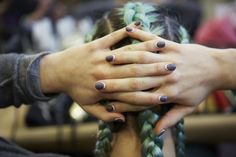 Inverted French Manicure by essie backstage at DKNY #NYFW