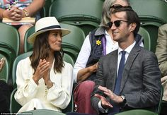 Pippa, gave a sartorial nod to the traditional tennis whites worn by contestants as she breezed into the grounds in a flowing cream dress, which she teamed with nude wedges. Pippa Middleton Style, Princess Kate Middleton, Middleton Family, Princess Diana, The Other Sister, Pippa And James, Tennis Whites, Taylor Swift Outfits, James Matthews