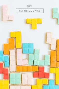 These DIY Tetris cookies are so cute! Perfect for a kid's birthday party or just because.