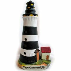 """*SOLD* 7"""" Miniature Beach LIGHTHOUSE Figurine CAPE CANAVERAL FL FLORIDA USA America $1 sorry this item is SOLD, we sell more HOME DECORS at http://www.TropicalFeel.com"""