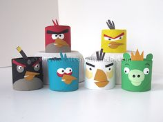 Decora tu fiesta Angry Birds con figuritas hechas con tubos de cartón / Decorate your Angry Birds party table with cardboard tube figures