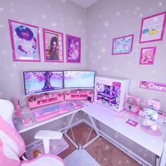 Room Design Bedroom, Girl Bedroom Designs, Room Ideas Bedroom, Bedroom Setup, Cute Room Ideas, Cute Room Decor, Gaming Room Setup, Gaming Rooms, Gaming Desk