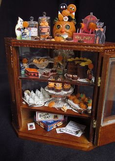 Dollhouse sized Halloween shop counter by goddess of chocolate, via Flickr