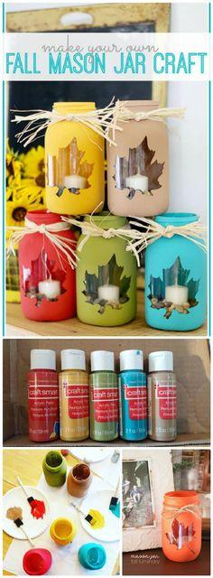 50 Unique DIY Mason Jar Crafts for Fall Decor diy mason jar crafts for fall - Diy Fall Crafts Fall Mason Jars, Mason Jar Gifts, Mason Jar Diy, Mason Jar Fall Crafts, Upcycled Crafts, Jar Crafts, Bottle Crafts, Diy For Teens, Crafts For Teens