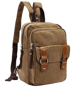 FEOYA Womens Outdoor Multifunctional Canvas Backpack High Capacity Leisure Bag Khaki * Check this awesome product by going to the link at the image.