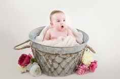 baby, girl, bucket, flowers, cute, vintage