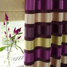 stripe drapes purple green | ... Purple and green striped satin curtain with neutral leaf roman blind