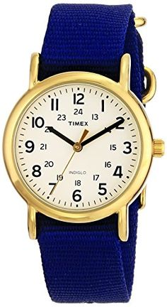 Women's Wrist Watches - Timex Unisex T2P4759J Weekender GoldTone Watch with Blue Nylon Band * Want to know more, click on the image.