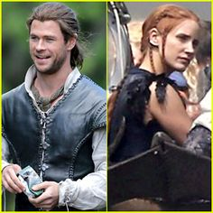 Chris Hemsworth & Jessica Chastain Continue to Film 'The Huntsman' in England