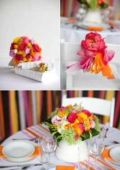 Pink Orange Wedding Decor