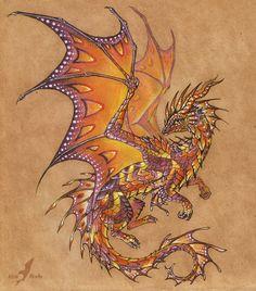 Tropical sunset dragon - tattoo design by =AlviaAlcedo on deviantART