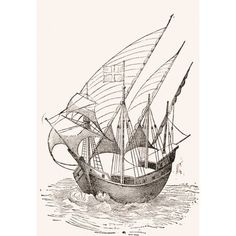 A 15Th Century Caravel From El Museo Popular Published Madrid 1889 Canvas Art - Ken Welsh Design Pics (22 x 34)