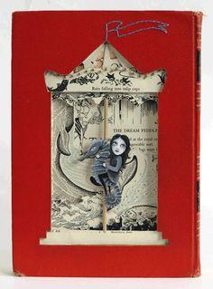 sea horse, altered book, book art, valerie savarie, giclee, fine art, contemporary art, denver, colorado, belmar