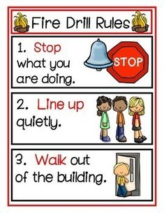 Free Fire Drill Rules by Pre-K Learning Circle Preschool Rules, Community Helpers Preschool, Preschool Learning Activities, Classroom Rules, Preschool Classroom, Kindergarten, Fire Drill Procedures, Safety Rules, Safety Tips