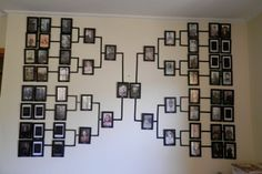 my Family Tree Photo Wall, with lines all done, hook and frames all up, just need to find a few missing photos