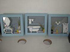 kit com 3 quadrinhos para banheiro, com miniaturas em gesso,dando um charme para seu banheiro. <br> <br>***** FAVOR CONSULTAR A DISPONIBILIDADE DE TODO O MATERIAL, NÃO POSSUO ESTOQUE.