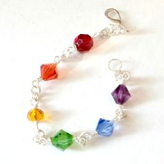 Handmade bracelet Rainbow Pride crystals chain maille size 7 1/4 red orange etc #Pat2 #Chain