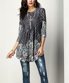 Take a look at this Charcoal Paisley Notch Neck Pin-Tuck Tunic today!
