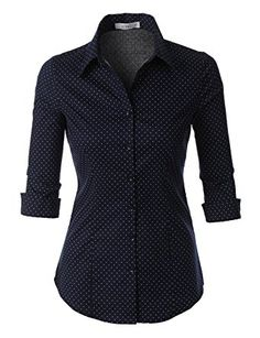349adf2c440d4 LE3NO Womens Roll Up 3 4 Sleeve Button Down Shirt with Stretch at Amazon Women s  Clothing store