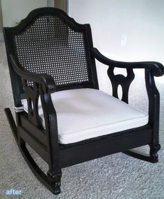 AFTER: rocker reupholstered with black gloss finish