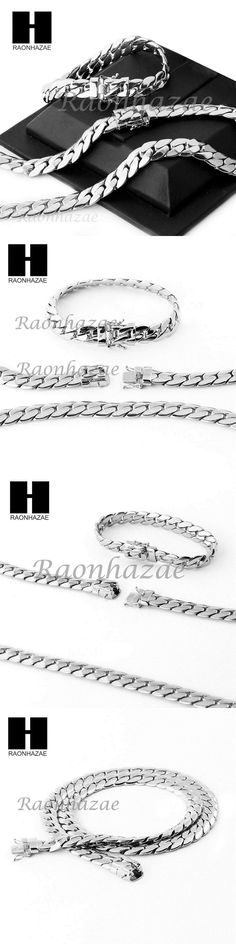 Chains Necklaces and Pendants 137839: 14K White Gold Finish Heavy 12Mm Miami Cuban Link Chain Necklace Bracelet Set E -> BUY IT NOW ONLY: $38.94 on eBay!