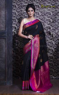 Pure Handloom Tussar Silk Banarasi Saree in Black and Magenta Phulkari Saree, Banarasi Sarees, Set Saree, Saree Dress, Bridal Silk Saree, Saree Wedding, Pure Silk Sarees, Cotton Saree, Simple Sarees