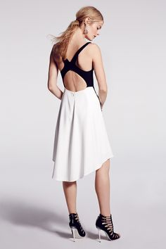 Sport-inspired cocktail look in black & white // Narcisco Rodriguez Beaded Point Dress