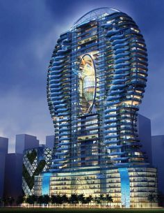 The Amazing Glass Balcony Pool is a design proposed for the ISM Parinee Ohm Tower, a 30 story luxury condominium tower in Mumbai, India. The tower was designed by Hong Kong based James Law Cybertecture. Architecture Unique, Futuristic Architecture, Canopy Architecture, Building Architecture, Residential Architecture, Glass Balcony, Fluid Design, Luxury Condo, Luxury Apartments