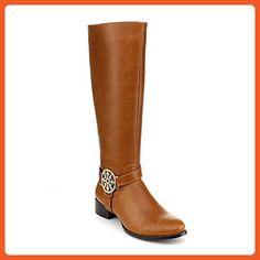 Dbdk Womens Cilena-4 Side Zipper Buckle Rhinestone Almond Toe Combact Riding Knee High Boot,Camel,9 - Boots for women (*Amazon Partner-Link)