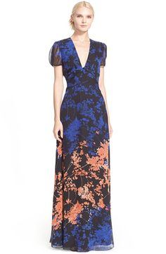 Free shipping and returns on Diane von Furstenberg 'Adrienne' Gown at Nordstrom.com. A plunging V-neckline ends in a figure-flattering twist on this unique floor-length gown. Crafted from an abstract floral-print silk, the delicately puffed sleeves are made of a matching sheer chiffon.