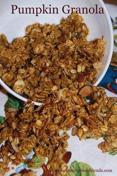Pumpkin Granola (used 1/2c each organic spelt/buckwheat/rice/rye flakes, 1.5c organic jumbo oats, omitted brown sugar & salt, used 3T honey instead of maple syrup, used 1/3c coconut oil instead of canola oil.