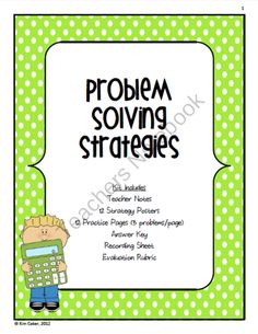 MATH Strategy Problem Solving Posters, Word Problems, and Evaluation Rubric product from cokerfamily6 on TeachersNotebook.com