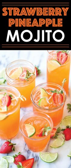 Strawberry Pineapple Mojito - A fun, sweet tropical twist to everyone's favorite cocktail! And you can easily transform this to a non-alcoholic drink! Summer Cocktails, Cocktail Drinks, Popular Cocktails, Cocktail Ideas, Vodka Cocktails, Bellini Cocktail, Lemonade Cocktail, Sweet Cocktails, Drink Recipes