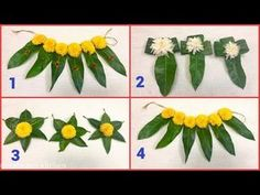 a traditional way of making thorana with mango leaves & flowers. Very useful for all the Hindu festivals. Diwali Decorations At Home, Festival Decorations, Flower Decorations, Housewarming Decorations, Diwali Diy, Flower Rangoli, Background Decoration, Diy Artwork, Beautiful Rangoli Designs