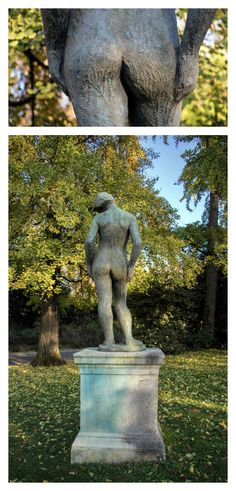 "November 2016 - Fesses of the Month - This bronze statue by Costas Valsenis, entitled ""Purity"" or ""Greece,"" displays a young woman standing in contrapposto, causing her fanny to twist fetchingly off-axis. The statue, installed in Parc Montsouris, was donated to the City of Paris by the Hellenes of France in 1955 for the occasion of the celebration of the bimillenium of Paris. http://q25749.questionwritertracker.com/J39AYNTP/"