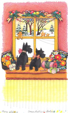 scotties on the lookout, this looks like my little black schnauzer Chappy looking out the window, all my schnauzer's love to do that!! <3